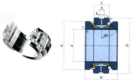 Double way thrust angular contact ball bearings